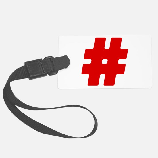 Red #Hashtag Luggage Tag