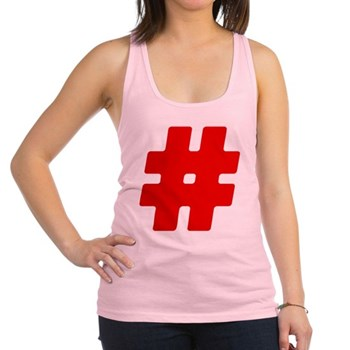 Red #Hashtag Racerback Tank Top