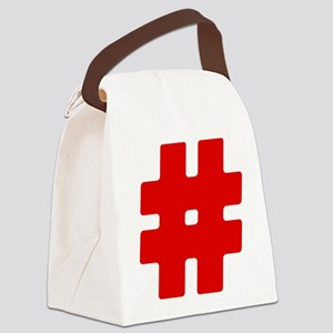 Red #Hashtag Canvas Lunch Bag