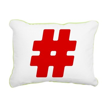 Red #Hashtag Rectangular Canvas Pillow