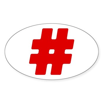 Red #Hashtag Oval Sticker