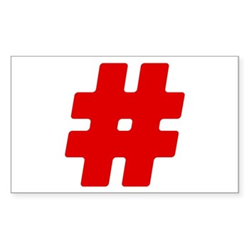 Red #Hashtag Rectangle Sticker