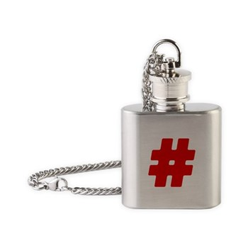 Red #Hashtag Flask Necklace