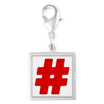 Red #Hashtag Silver Square Charm