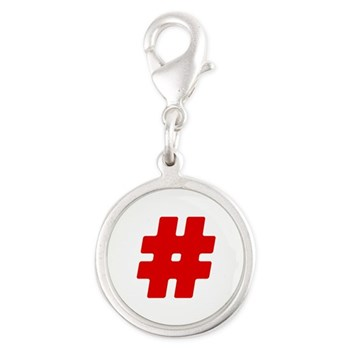 Red #Hashtag Silver Round Charm
