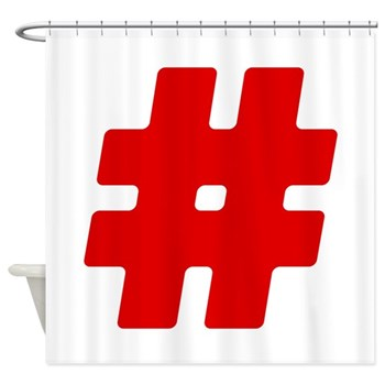 Red #Hashtag Shower Curtain