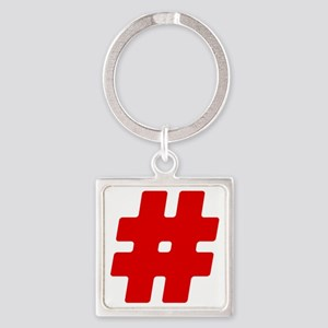 Red #Hashtag Square Keychain