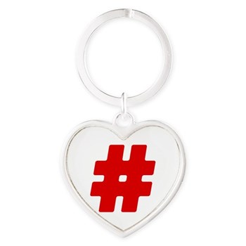 Red #Hashtag Heart Keychain