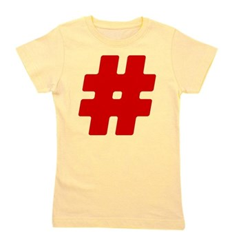 Red #Hashtag Girl's Tee