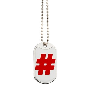 Red #Hashtag Dog Tags