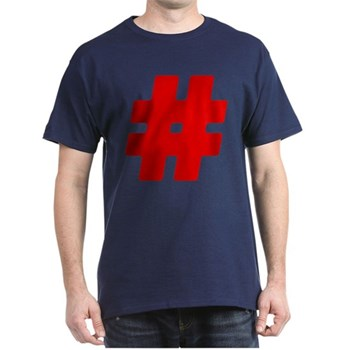 Red #Hashtag Dark T-Shirt