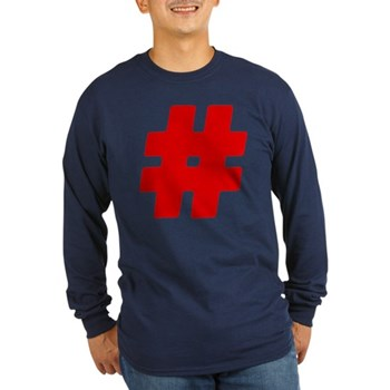 Red #Hashtag Long Sleeve Dark T-Shirt