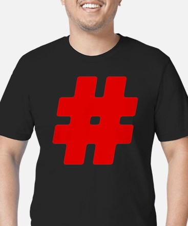 Red #Hashtag Men's Dark Fitted T-Shirt