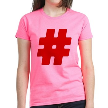 Red #Hashtag Women's Dark T-Shirt