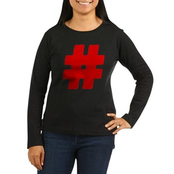 Red #Hashtag Women's Dark Long Sleeve T-Shirt