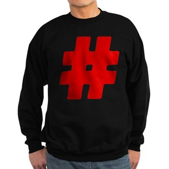Red #Hashtag Dark Sweatshirt