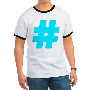 Turquoise #Hashtag Ringer T-Shirt