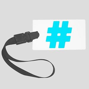 Turquoise #Hashtag Large Luggage Tag