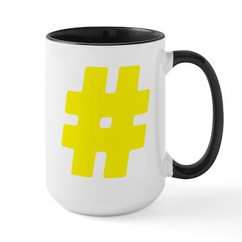 Yellow #Hashtag Large Mug