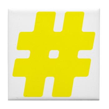 Yellow #Hashtag Tile Coaster