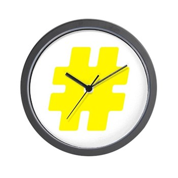 Yellow #Hashtag Wall Clock