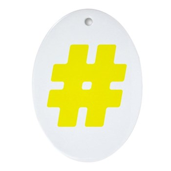 Yellow #Hashtag Oval Ornament