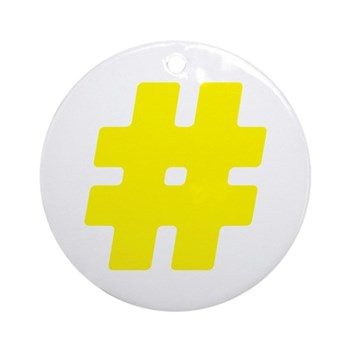 Yellow #Hashtag Round Ornament