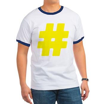 Yellow #Hashtag Ringer T-Shirt