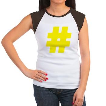 Yellow #Hashtag Women's Cap Sleeve T-Shirt