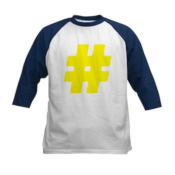 Yellow #Hashtag Kids Baseball Jersey