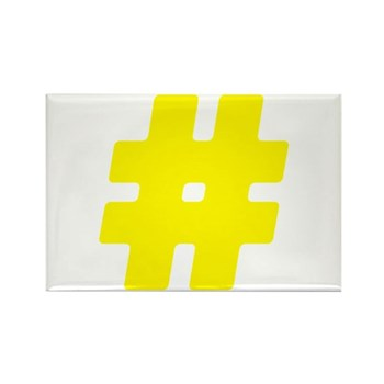 Yellow #Hashtag Rectangle Magnet