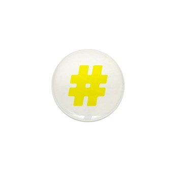 Yellow #Hashtag Mini Button