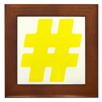Yellow #Hashtag Framed Tile