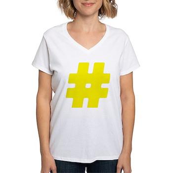 Yellow #Hashtag Women's V-Neck T-Shirt