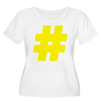 Yellow #Hashtag Women's Plus Size Scoop Neck T-Shi