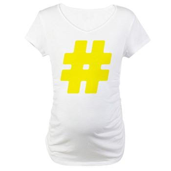 Yellow #Hashtag Maternity T-Shirt