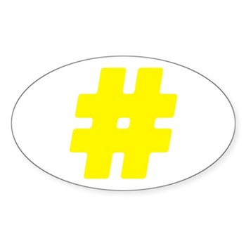 Yellow #Hashtag Oval Sticker (10 pack)