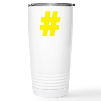 Yellow #Hashtag Stainless Steel Travel Mug
