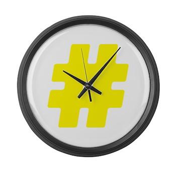 Yellow #Hashtag Large Wall Clock