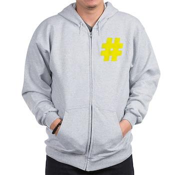 Yellow #Hashtag Zip Hoodie