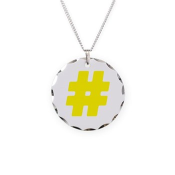 Yellow #Hashtag Necklace Circle Charm