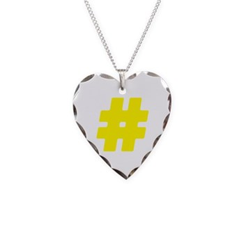 Yellow #Hashtag Necklace Heart Charm