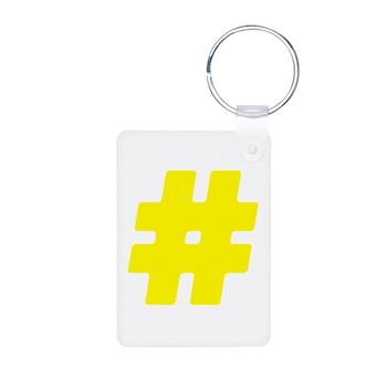Yellow #Hashtag Aluminum Photo Keychain