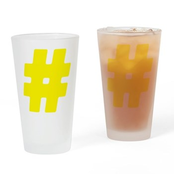 Yellow #Hashtag Drinking Glass