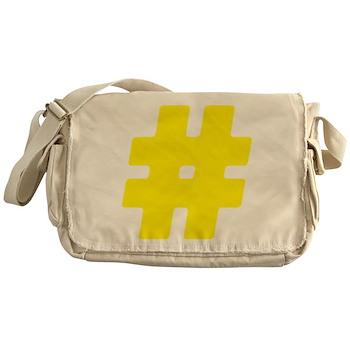 Yellow #Hashtag Canvas Messenger Bag