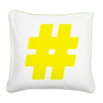 Yellow #Hashtag Square Canvas Pillow