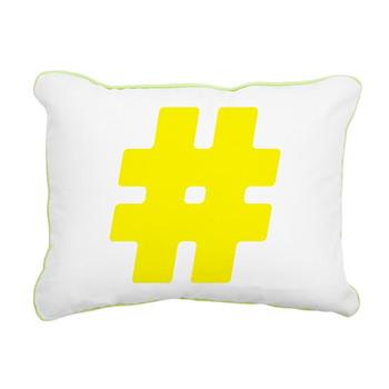 Yellow #Hashtag Rectangular Canvas Pillow