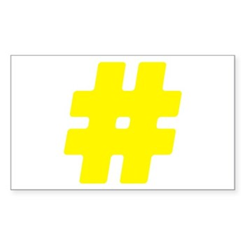 Yellow #Hashtag Rectangle Sticker