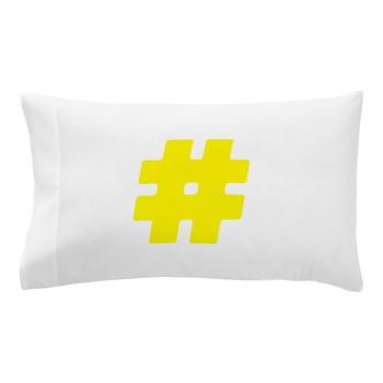 Yellow #Hashtag Pillow Case