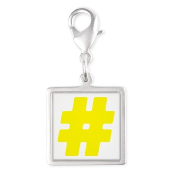 Yellow #Hashtag Silver Square Charm
